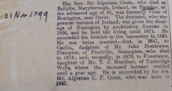 Algernon Coote obit