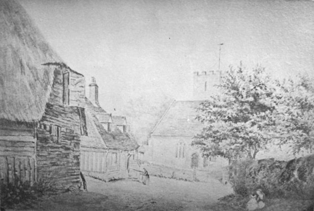 Mid-19th century sketch of the end of the Parsonage Field tithe barn. On the east side of Church Street at its junction with Church Hill in what was known as the Parsonage Field was an ancient tithe barn which probably dated from the early 17th century. The barn was demolished at some time in the late 19th century but the pond that also occupied the site remained until the present bungalows were built. The present Toll Cottage is in the left back ground, and Church Cottage and the site of the later Alms Houses are off to the left. St. Mary's Church is in the centre background.