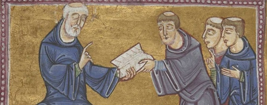 Illuminated manuscript showing St Benedict handing his rule to monks