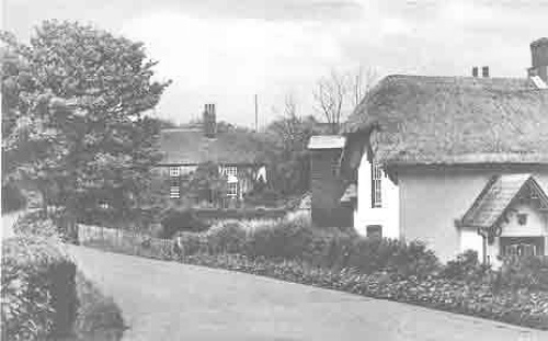 Frogham Cottage and Frogham Farm house viewed from the bottom of Barfrestone Hill.