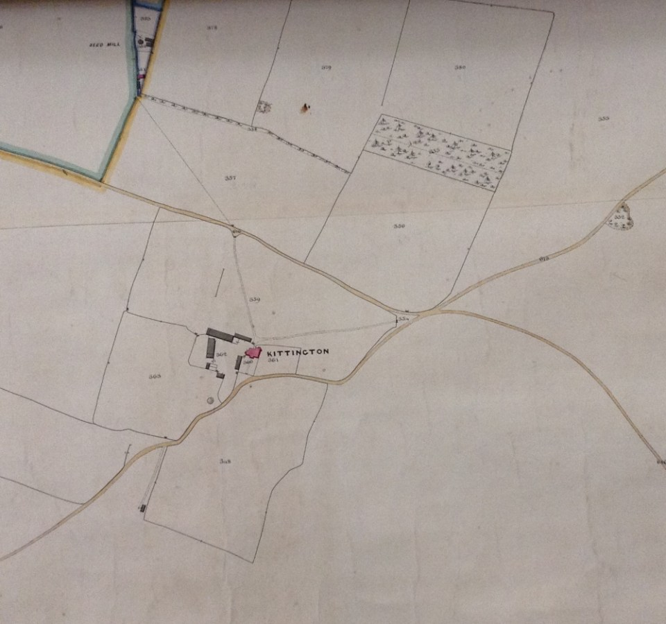 Kittington Farm, the 1859 Poor Law Commissioners map.