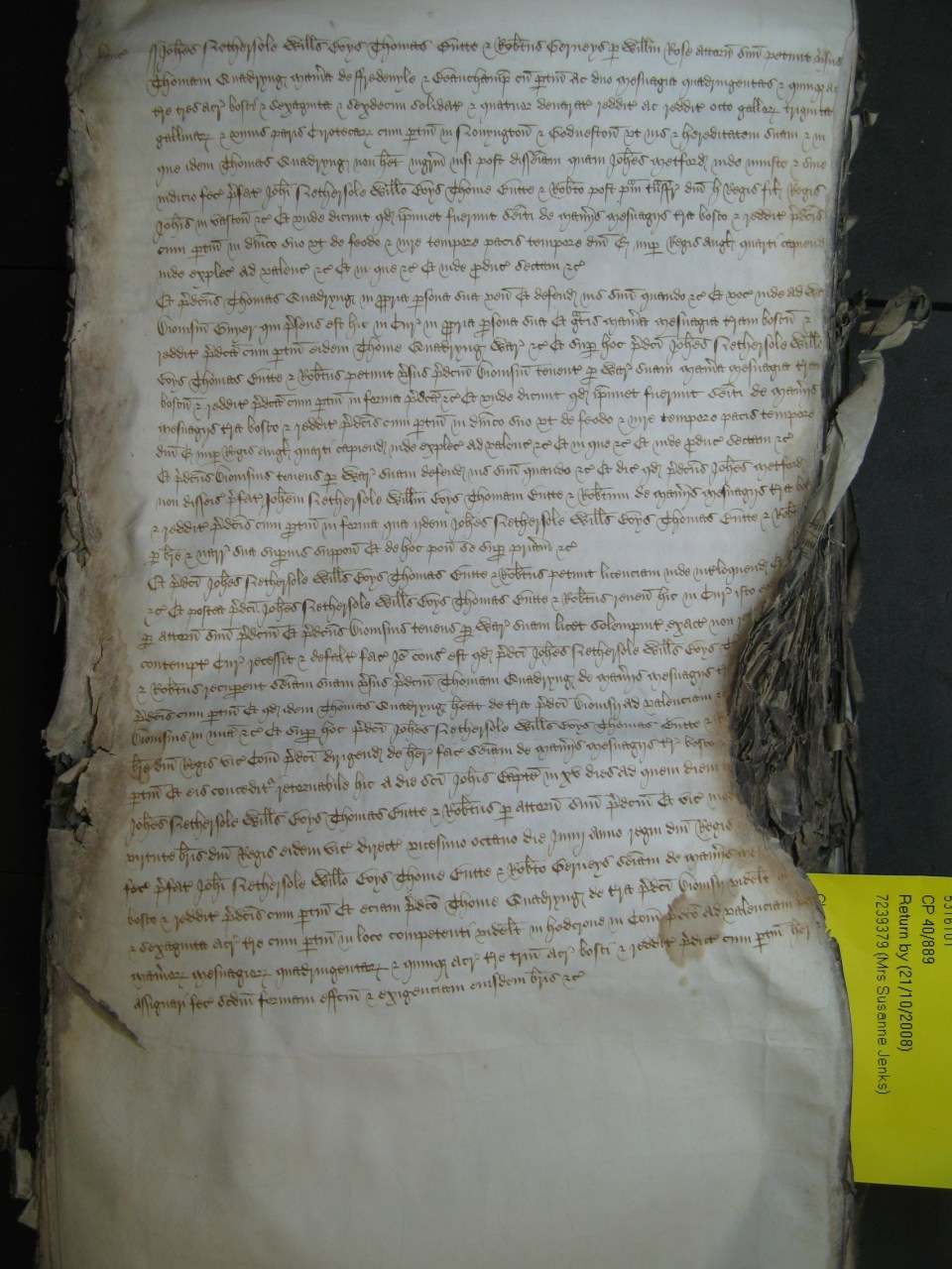 "1483 Court of Common Pleas record:Trinity Term of the Law Courts [June and July].  John Nethersole, William Boys, Thomas Butte and Robert Gerneys  legal proceedings  to regain possession of ""the manors of Fredeuyle and Beauchamp' ect""."
