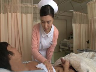 While Helping Her Patient To Wash Up Japanese Nurse Gets Pulled And Forced To Suck His