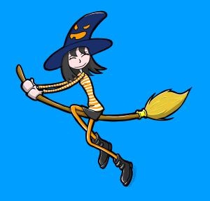 sorcière sur son balai volant