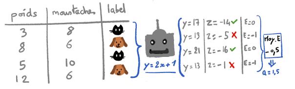 Illustration d'un ensemble de données envoyé à une IA