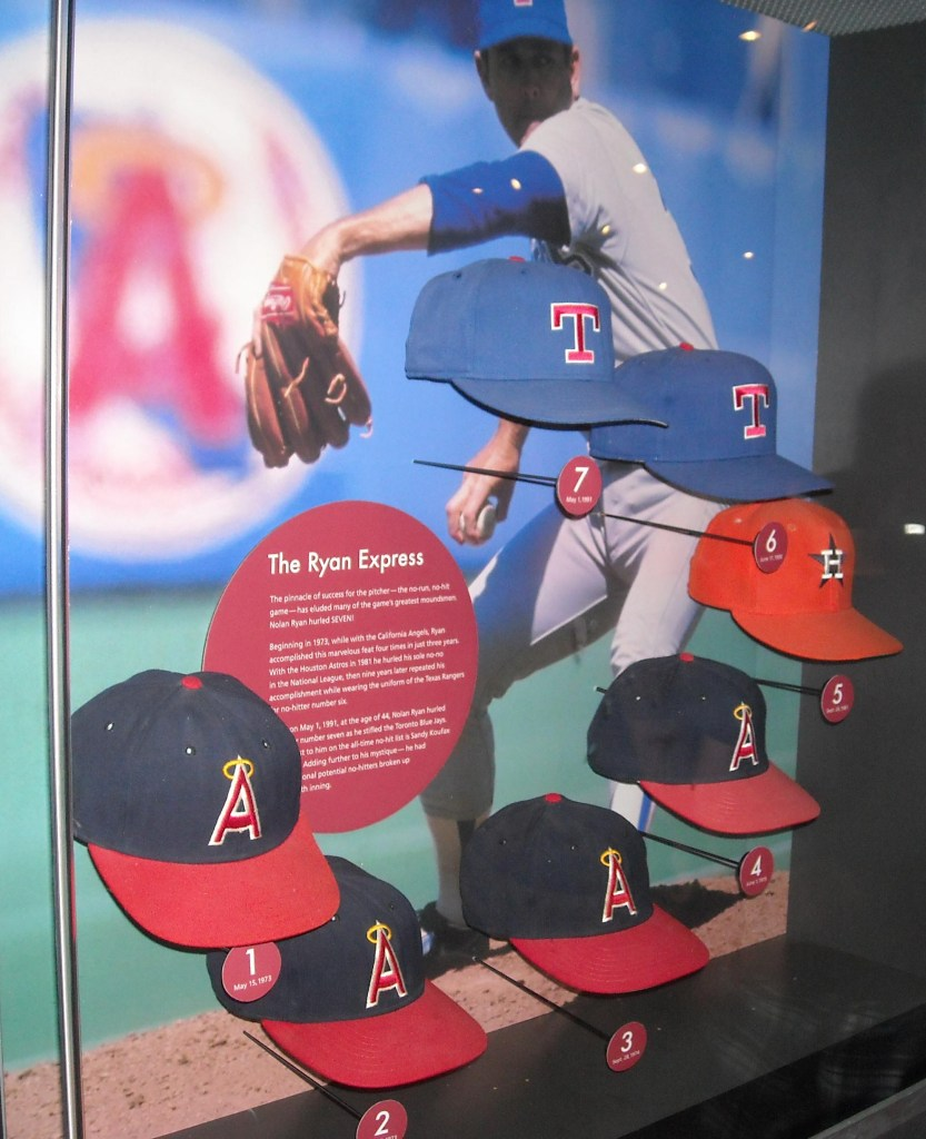 Nolan Ryan's circle of no-no hats in the Baseball Hall of Fame.