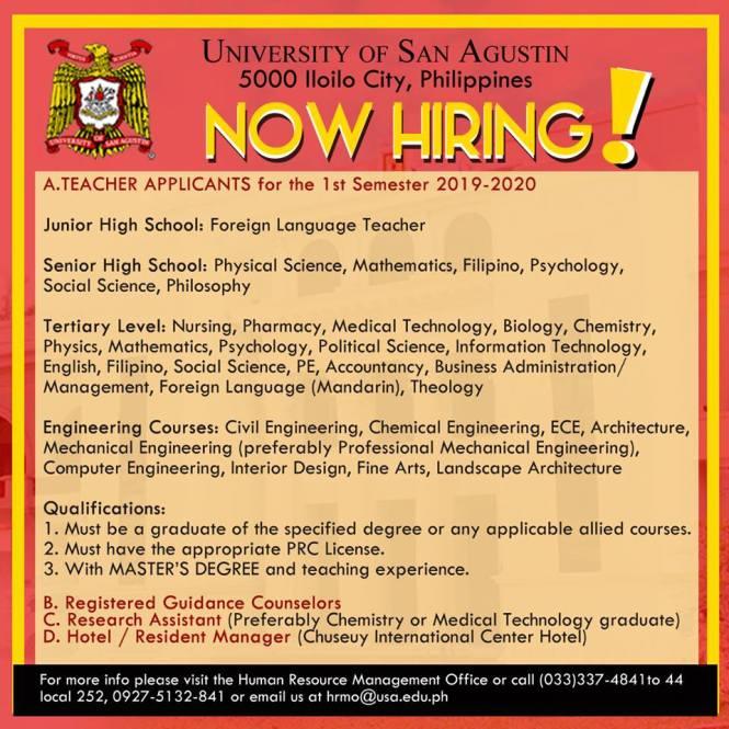 University of San Agustin hiring teachers