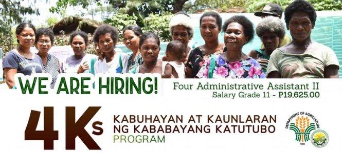 DA hiring admin assistant for 4Ks program.