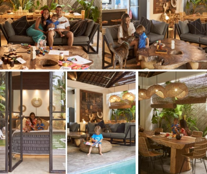 Oli, Elaine and their family enjoying a precious weekend getaway at the Native Modern Villa in Siargao. Photography by Oli.