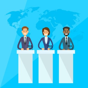 International Leaders President Press Conference Flat Vector Illustration