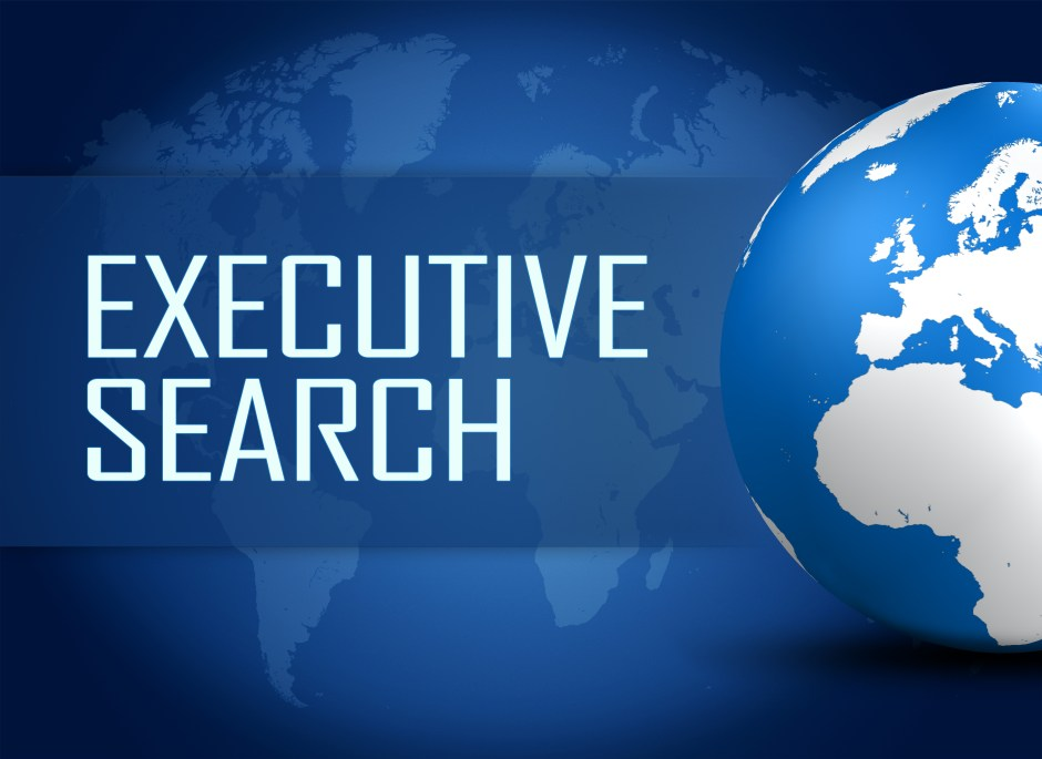 Executive Search concept with globe on blue world map background