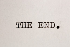 Close up view - The end - written on an old typewriter
