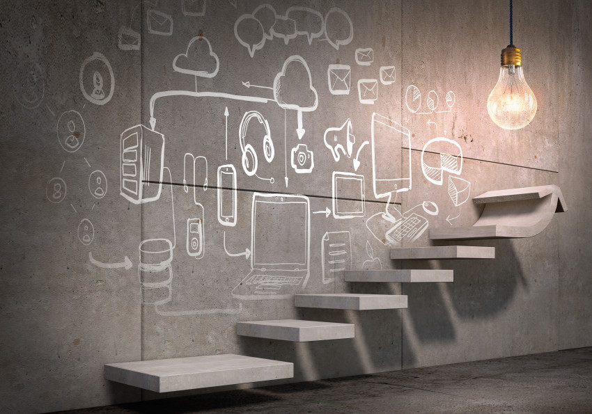 Business strategy plan over ladder leading to success