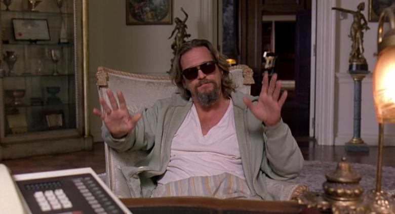 Il grande Lebowski citazioni e dialoghi di Joel Coen con Jeff Bridges, John Goodman, Julianne Moore, Steve Buscemi, Drugo a colloquio