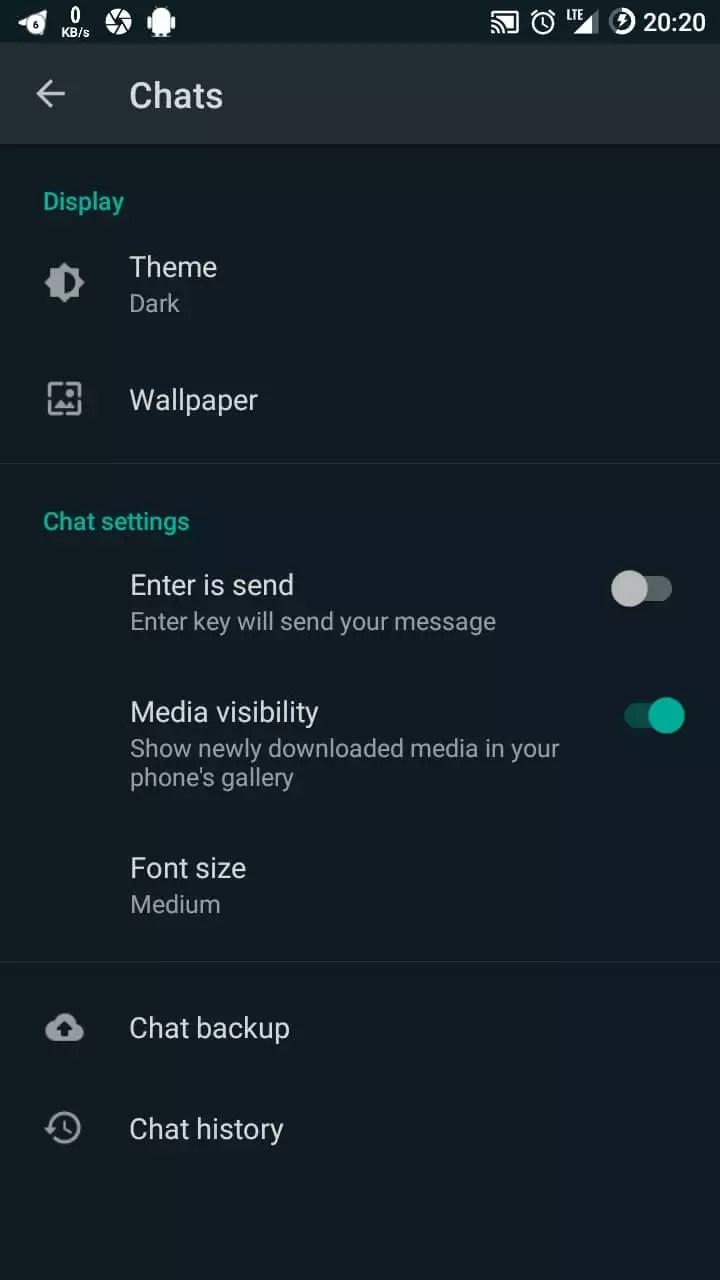 mengubah tampilan gelap whatsapp