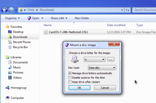 cara mount file iso di windows 7