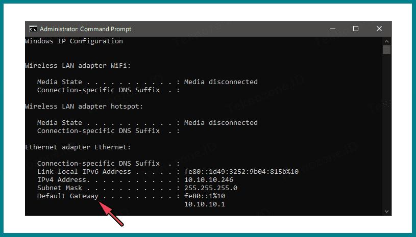 Cara menggunakan cmd untuk menemukan gateway IP