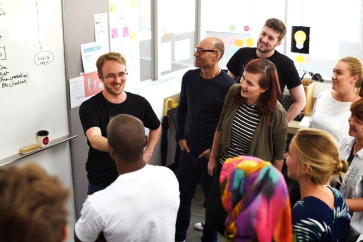 Coworking space members meeting