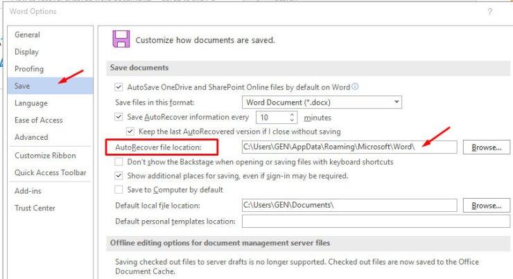 AutoRecover file location - screenshot
