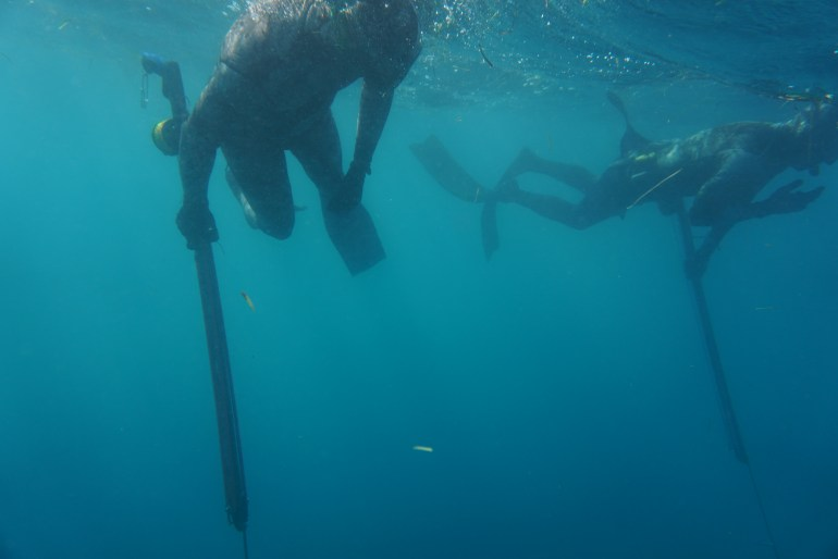 Don't swim away from your dive buddy. Spearfishing Buddy Protocol