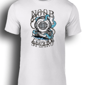 Octopus Blue spearfishing white tee shirt. Noob Spearo