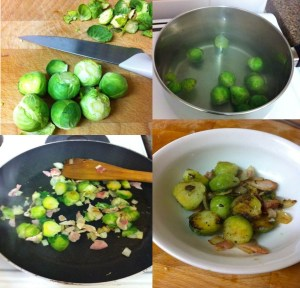 Sprouts with bacon, garlic and onions