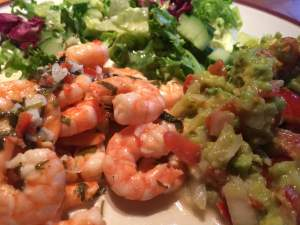 Garlic Chilli and Coriander Prawns Served with Salad and Guacamole