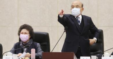 監察院長陳菊(左)昨天率領監察委員巡察行政院,行政院長蘇貞昌(右)則率閣員出席。 聯合報系資料照片