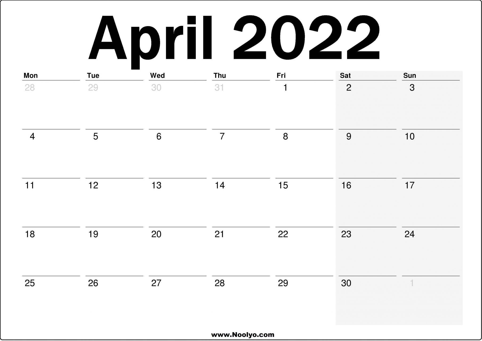 Sometimes it is handy to have a calendar for your current month on your cubical wall. 2022 UK April Calendar Printable - Noolyo.com