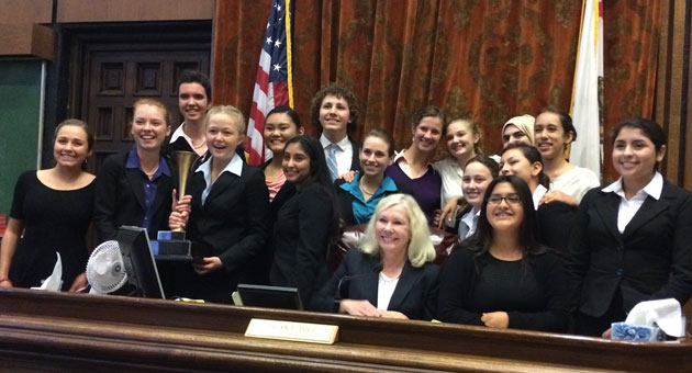 For the sixth consecutive year, Dos Pueblos High School's Mock Trial Team has earned Santa Barbara County's top honors, defeating San Marcos High 2-0. (Uptal Thakrar photo)