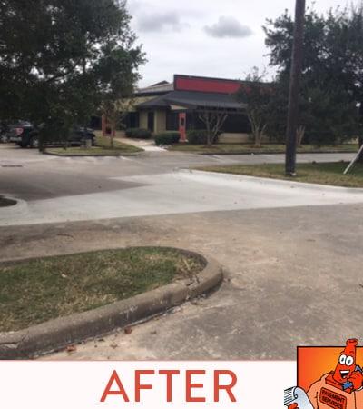 Concrete parking lot after concrete was laid.