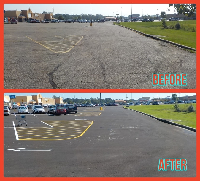 Before & After Parking Lot repair services Walmart Parking