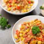 This delicious Indian inspired Chickpea and Eggplant Curry is oil free, low fat and vegan.