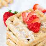 Oil free and whole grain vegan waffles are loaded with healthy ground flaxseeds.