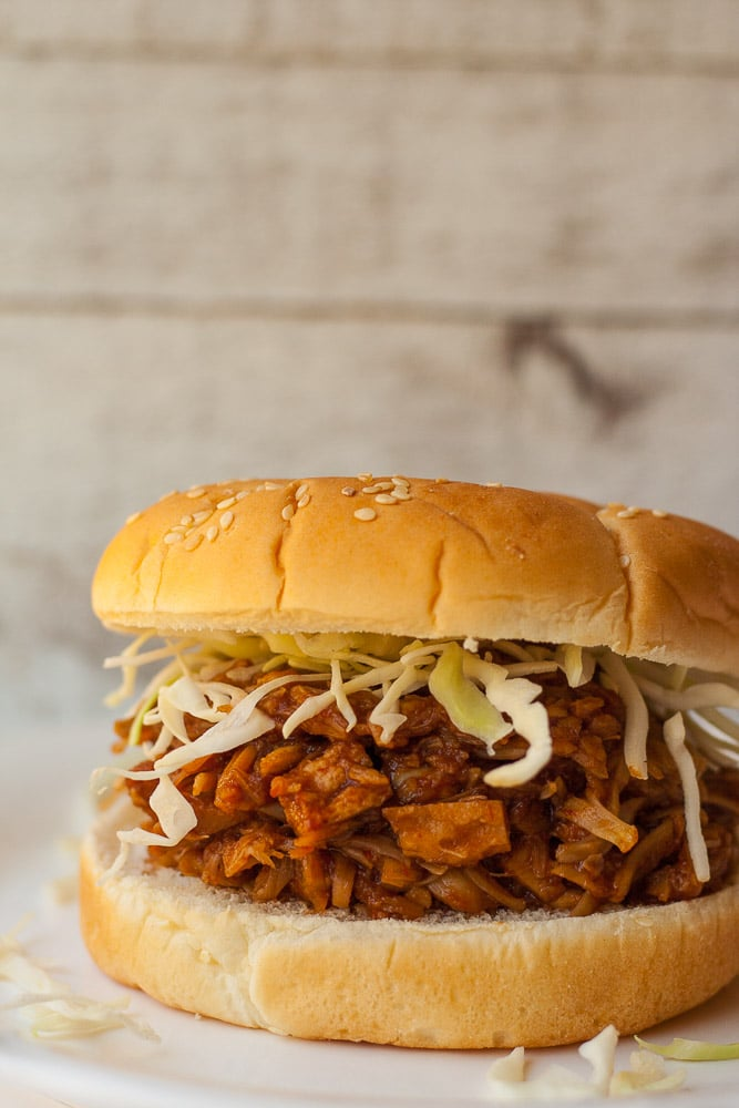The easiest pulled BBQ jackfruit, made in the instant pot.