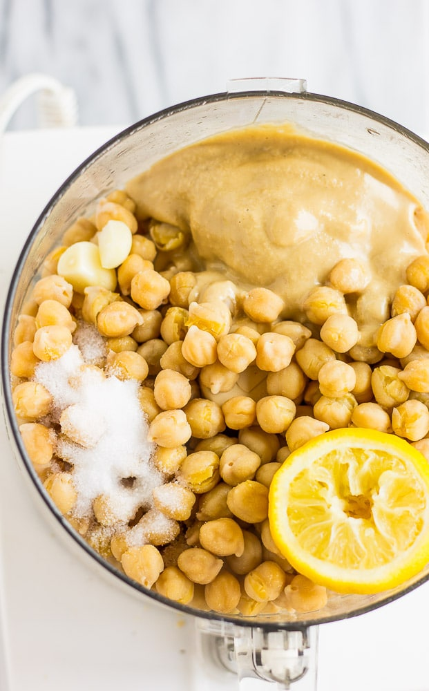 Instant Pot Garlic Hummus- Cheap, easy and delicious hummus made from dried beans.
