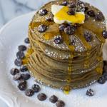 Light and fluffy, vegan, double chocolate chip pancakes are made with whole wheat pastry flour and in just 1 bowl!