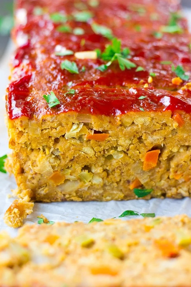 close up photo from side of vegan meatloaf