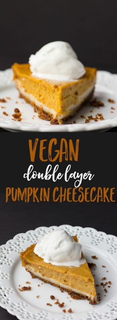 No one will ever know there's no dairy in this Vegan Double Layer Pumpkin Cheesecake.