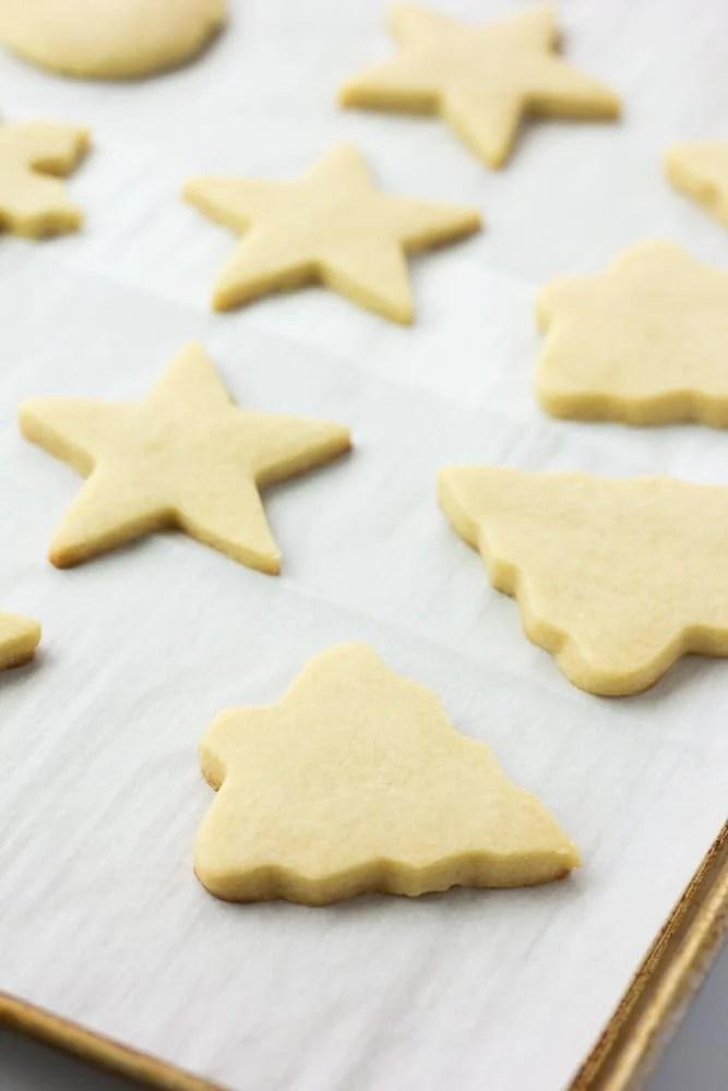 vegan sugar cookies, cooked on a pan