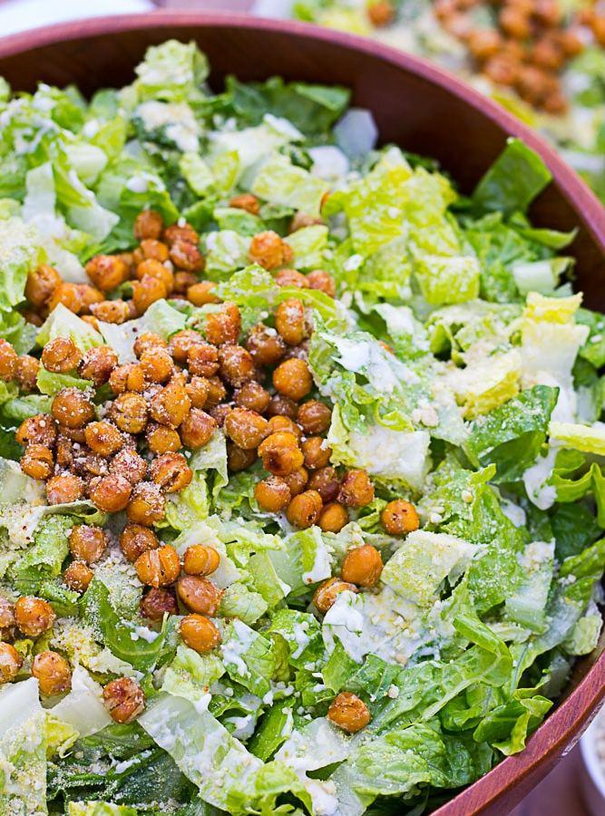close up of caesar salad