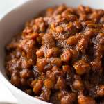 close up shot of vegan baked beans