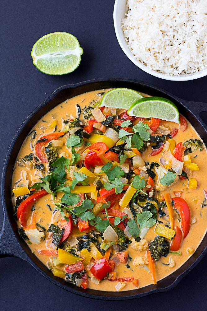 Red Thai Curry Vegetables overhead shot in pan.
