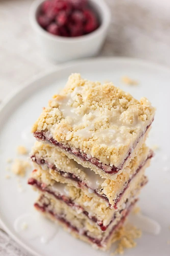 photo of vegan raspberry bars, stacked