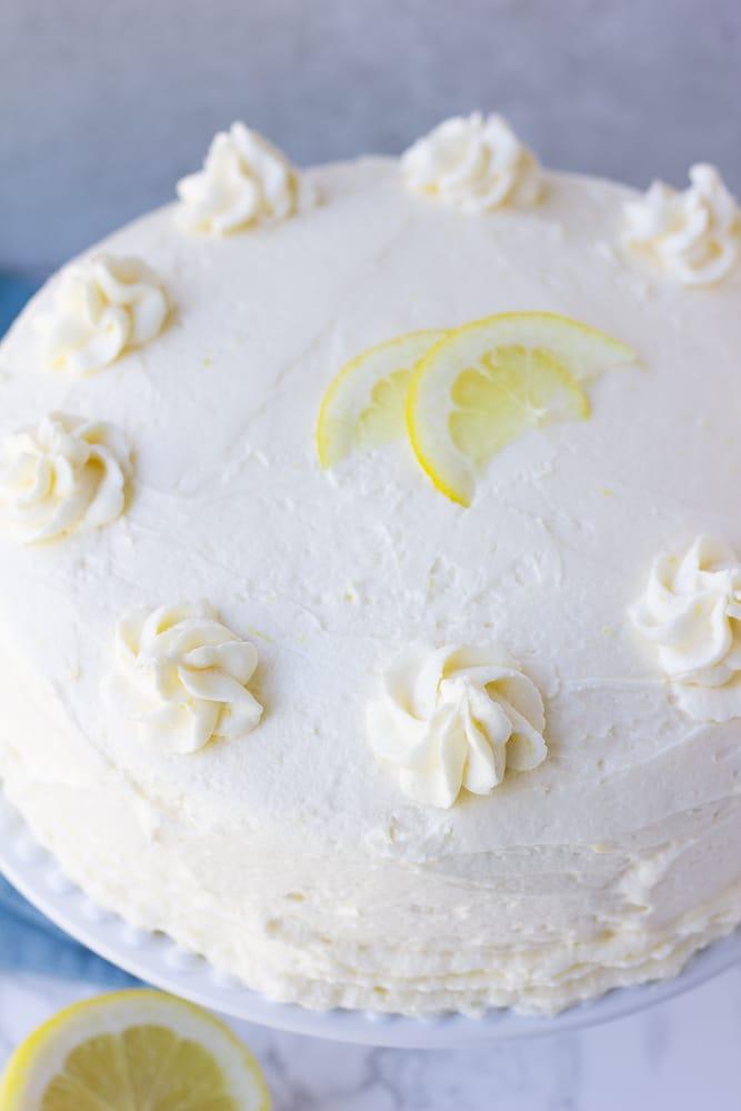 close up shot of vegan lemon cake