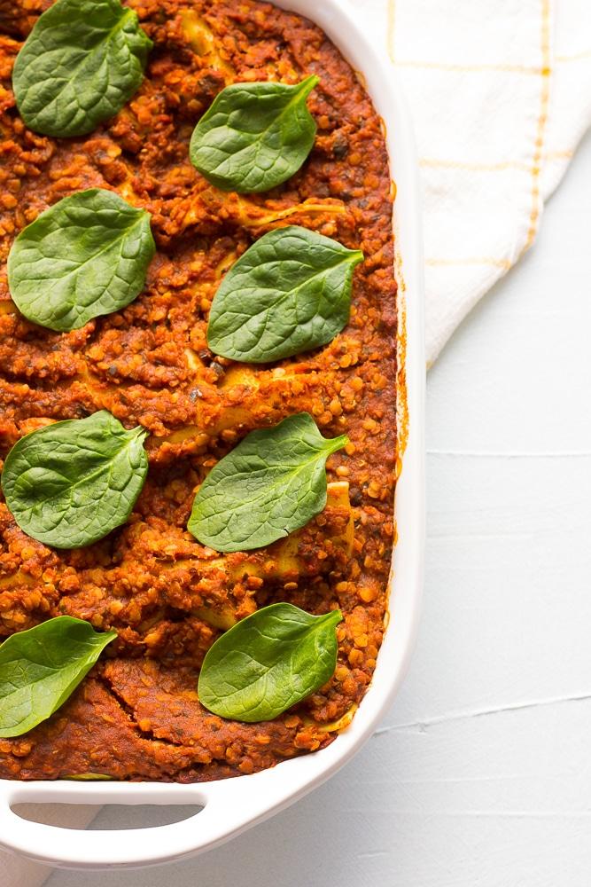 vegan lasagna in a dish