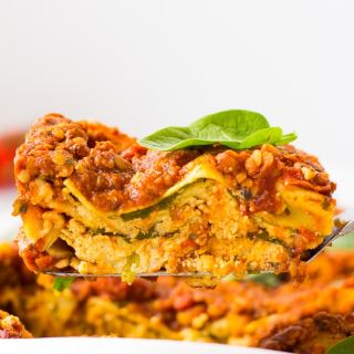 vegan lasagna on a spatula