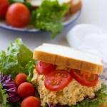 chickpea tuna salad sandwich on a plate