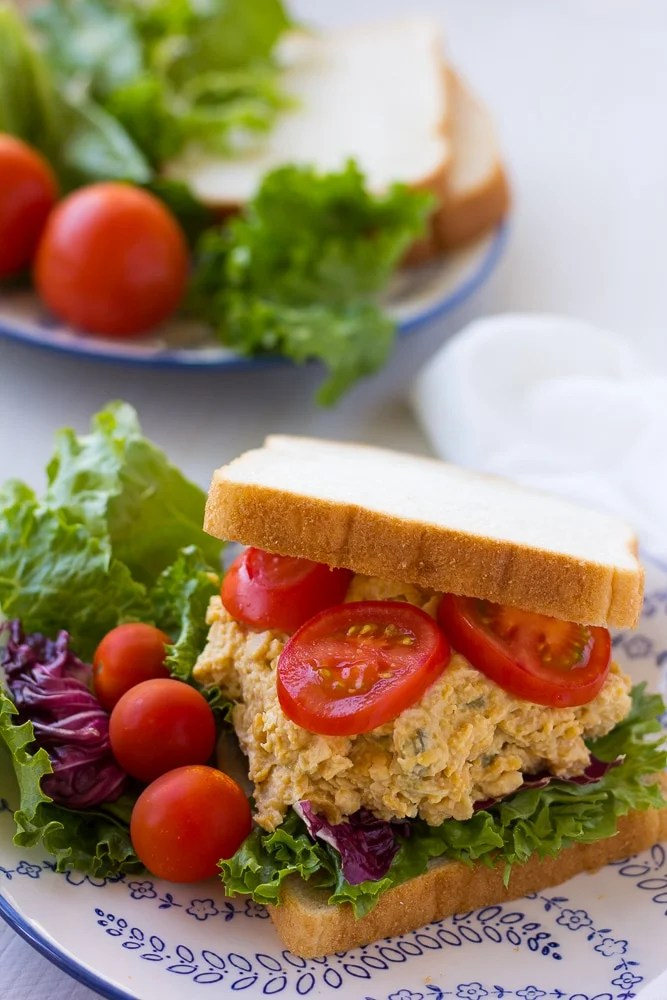 chickpea tuna salad sandwich on a plate