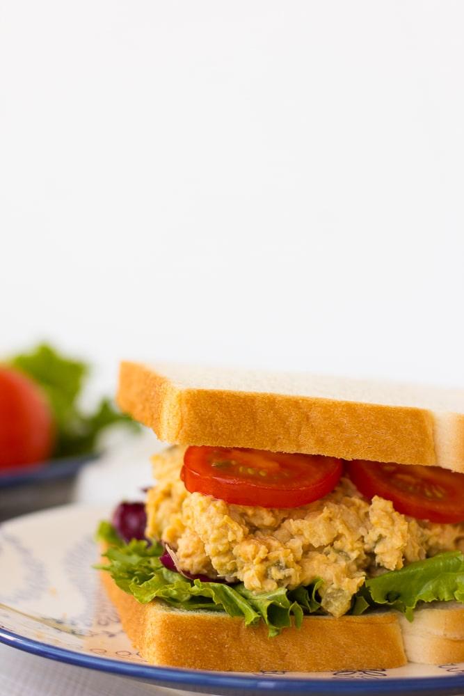 chickpea tuna salad sandwich on plate